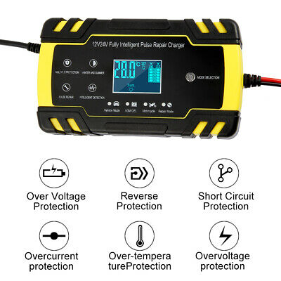 Car Charger Battery Automatic Electronic 12V/24V Fast/Trickle/Pulse Intelligent
