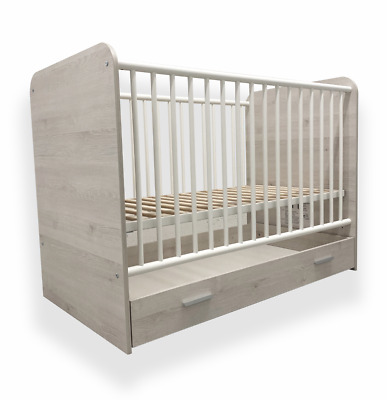 Baby Cot Bed with Drawer Toddler Cot Deluxe Aloe Vera Luxury