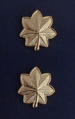 Details about  /MAJ Major Oak Leaf LARGE SAFETY CATCH Gold Collar Pins Rank Insignia