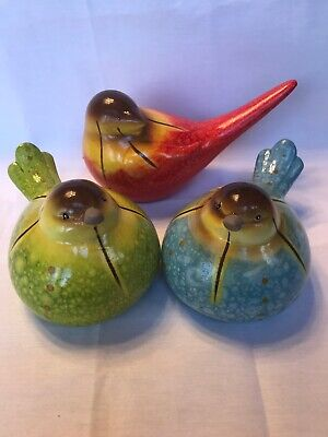 Set Of Three Colorful Plump Bird Decor Figurines