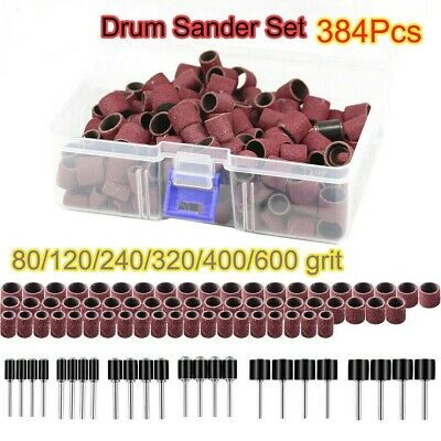 HOT 384PCS Drum Sander Set Including 360 PCS Nail Sanding Band Rotary Tools New