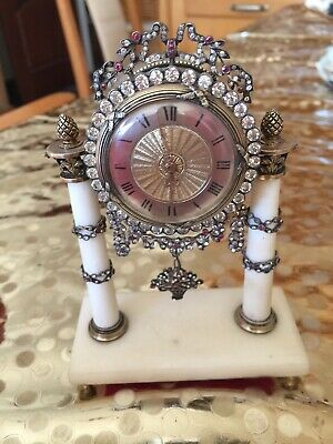 Magnificent French 20thC Solid Silver Quartz Stone Jewelled Miniature Clock