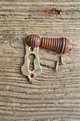 Beautiful Antique Style Teak & Brass Beehive Escutcheon Door Keyhole Key Hole N1