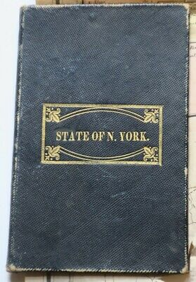 "1840 colored NY Pocket Map,25"" x 20"", in Hardcover Binder,Canals,Rail Roads,etc"