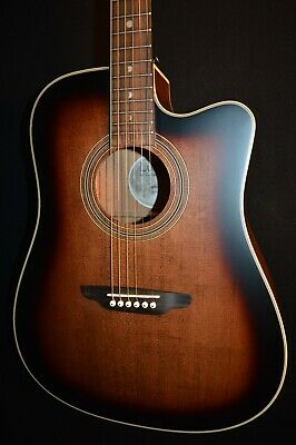 Luna Art Vintage DCE Dreadnought Cutaway Acoustic Electric Guitar-Free Shipping!