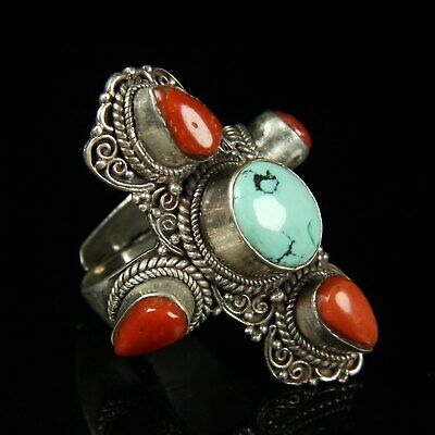 Chinese Exquisite Handmade silver ring  cv256