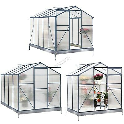 BIRCHTREE Clear Polycarbonate Greenhouse Aluminium With Base Slide Door Grey