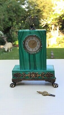 Stunning Russian 20thC Solid Silver Enamel Malachite Diamond Miniature Clock