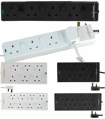 Mains Surge Protected Extension Lead Individual Switch 4 6 8 Gang Socket Power