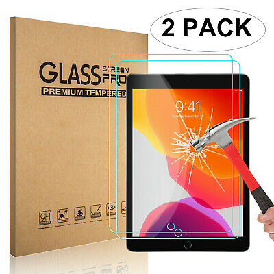 "2x Clear Tempered Glass Screen Protector For New iPad 7th Generation 10.2"" 2019"