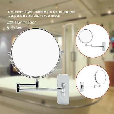 Double Sided Wall Mount 1/10x Magnifying Cosmetic Shaving Bathroom Swivel Mirror