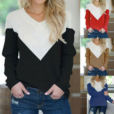 Fashion Women Casual V-Neck Sweater Blouse Color Block Knitting Long Sleeve Tops