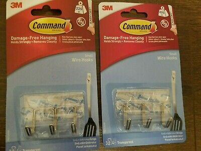 2 x 3M COMMAND | Clear Wire Small Hooks & Strips - (Pack of 3 x 2)