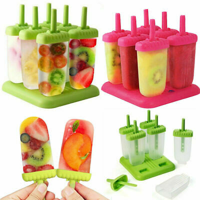UK Rainbow Silicone Ice Lolly Maker IcePop Smoothie Yogurt DIY Mould With Lid