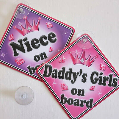 Personalised Child//Baby On Board Car Sign ~ Nannys Princess On Board ~ Purple
