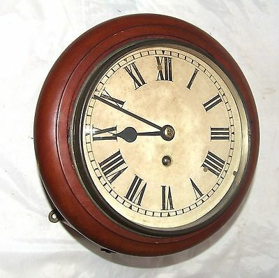 ~ Antique  rare 8 inch Dial CHAIN Fusee Mahogany Wall School Clock c1900