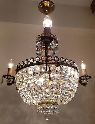 Antique Vintage Brass & Crystals Three Arms French Chandelier Ceiling Lamp Light
