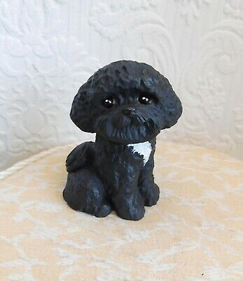 Maltipoo Poodle Mix Mini Handmade WRC Resin Dog Collectible Sculptures by Raquel