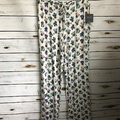 Cynthia Rowley pajama PJ bottoms lounge pants dogs winter hats size Med NWT