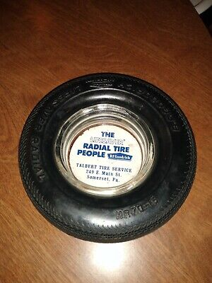 Vintage B.F. GOODRICH TIRE ASHTRAY LifeSaver Radial clear glass ADVERTISING