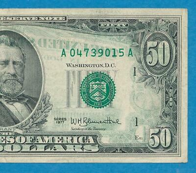 $50. 1977 Boston  Back  On Face  100% Offset   Federal Reserve Note
