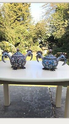 Antique Russian Solid Silver Enamel Rooster Bird Lidded Bowls Centerpiece