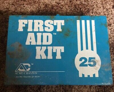 Vintage Wall Mount First Aid Kit Metal Box Acme/chaston Complete with Contents