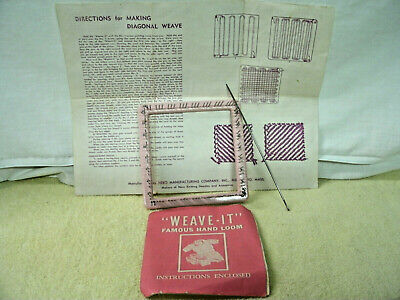Vintage Scovill Weave It  Loom Metal Pins plastic frame Needle Instruction 2/""