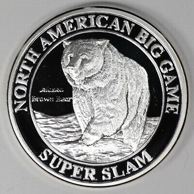 North American Big Game Alaska Brown Bear Super Slam Silver Plated Coin