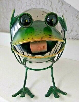 """SMILING FRECKLED FROG wTONGUE SILVER GREEN METAL approx 8x6x7"""" FUNKY GARDEN EUC"""