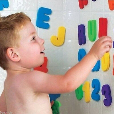 Bath Toys 36pcs Kids Foam Number Letters Bath Toddler tub Early Education Toys