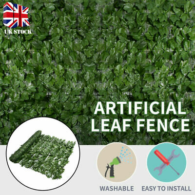 Artificial Ivy Leaf Hedge Privacy Screening Garden Fence Panel Roll 1m x 3m New