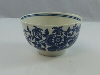 Antique First Period Worcester Dr Wall Porcelain Tea Bowl Three Flowers