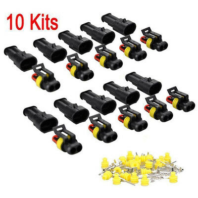 10 Kits 2Pin Way Sealed Waterproof Electrical Wire Connector Plug Car Auto Sets&