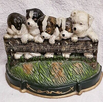Antique Heavy Metal Doorstop 3 Hands Corp Puppies On A Fence Solid Cast Iron