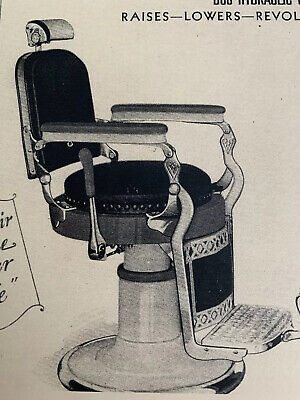 1930's Vintage Paidar #549 Hydraulic Reclining Barber Chair Sign Ad