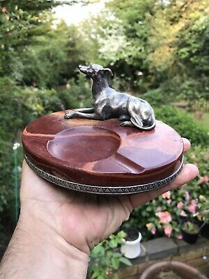 Antique Russian Solid Silver Jasper HardStone Ashtray With Greyhound Hunting Dog