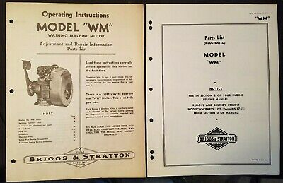 Briggs & Stratton Model WM Operating Instruction & Parts List 1937 Two manuals