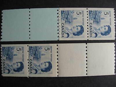 Canada 5c centennial Sc 468 MNH start, end coil strips of 4 some pulled perfs