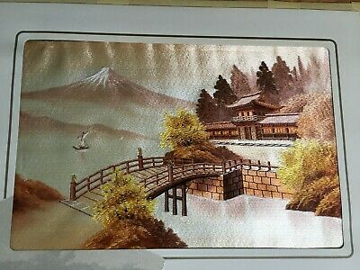 """Vintage Japanese Hand Embroidered Silk Art Picture Asian Landscape 18"""" x 12"""""""