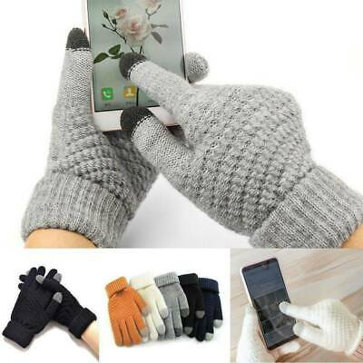 Women Men Full Finger Wool Knitted Gloves Warm Mittens Touch Screen Solid Color