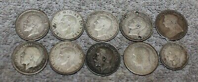 Antique/Vintage Three/Six Pence Lot Of 9 Britain