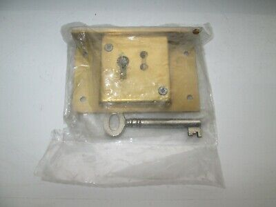 """Quality Antique Style Reproduction Brass Drawer Lock with Key 75mm / 3"""" - Unused"""
