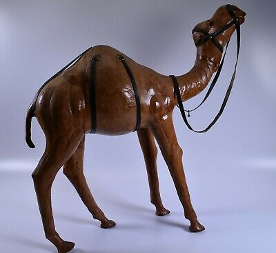 """Vintage Very Large leather wrapped Camel Statue Figure almost 20"""" tall"""