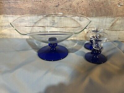 Princess House 326 Crystal Sapphire Footed Bowl & 325 A Pair Of Candle Holders