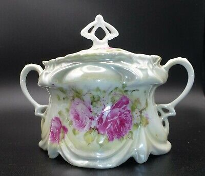 Vintage, Nearly Antique, Victoria Austria Double-Handle Covered Sugar Bowl