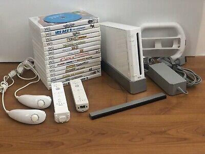 Nintendo Wii White Video Game Console System RVL-001 - 15 Games Bundle
