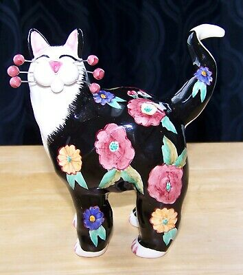 Annaco Creations 2002 Lacombe whimsical black flowers ceramic kitty cat figurine