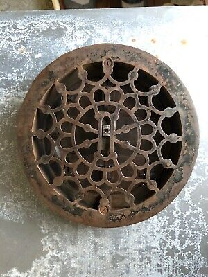 "Ornate Victorian cast iron floor register heat grate 8"" round"