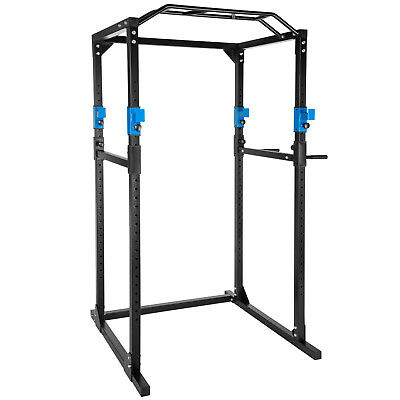 Kraftstation Fitnessstation Power Rack Power Cage Klimm Dip robust blau-schwarz